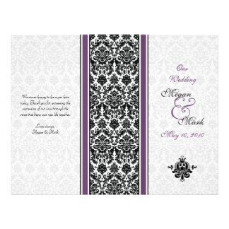 Eggplant Purple Damask Wedding Program