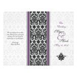 Eggplant Purple Damask Wedding Program Personalized Flyer