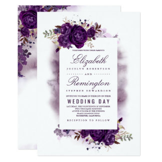 Eggplant Purple Floral Elegant Watercolor Wedding Card