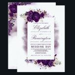 "Eggplant Purple Floral Elegant Watercolor Wedding Invitation<br><div class=""desc"">Eggplant - dark purple floral watercolor wedding invitations</div>"