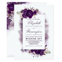 Eggplant Purple Floral Elegant Watercolor Wedding Invitation