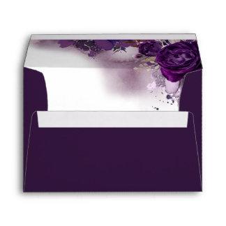Eggplant Purple Floral Elegant Wedding Envelope