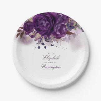 Eggplant Purple Floral Paper Plate