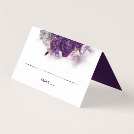 Eggplant Purple Floral Place Card