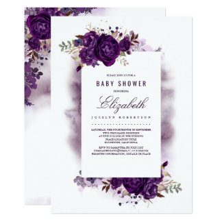 Eggplant Purple Floral Watercolor Baby Shower Card