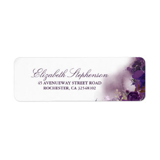 Eggplant Purple Floral Watercolor Label