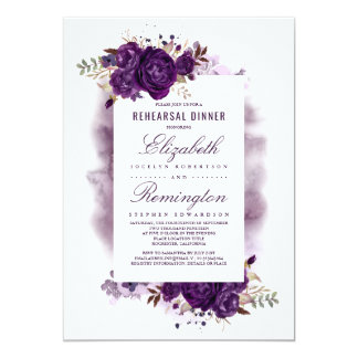 Eggplant Purple Floral Watercolor Rehearsal Dinner Invitation