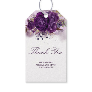 Eggplant Purple Floral Watercolor Wedding Gift Tags