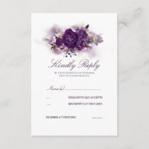 Eggplant Purple Floral Watercolors Wedding RSVP