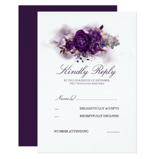 Eggplant Purple Floral Watercolors Wedding RSVP Card