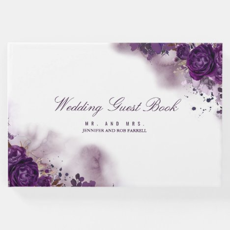 Eggplant Purple Floral Wedding Guest Book