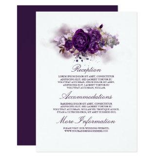 Eggplant Purple Floral Wedding Information Guest Card