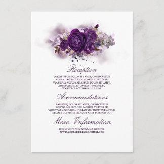 Eggplant Purple Floral Wedding Information Guest Enclosure Card
