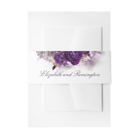 Eggplant Purple Flowers Elegant Wedding Invitation Belly Band
