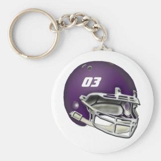 Eggplant Purple Football Helmet Keychain