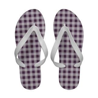 Eggplant Purple Gingham Pattern Sandals