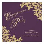 Eggplant Purple Gold Fleur de Lis Engagement Party 5.25x5.25 Square Paper Invitation Card