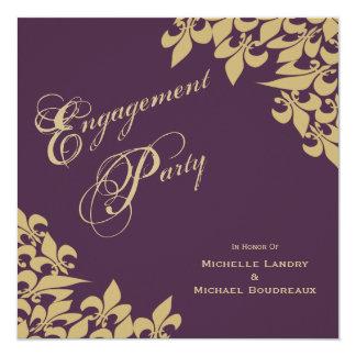 Eggplant Purple Gold Fleur de Lis Engagement Party Invitation