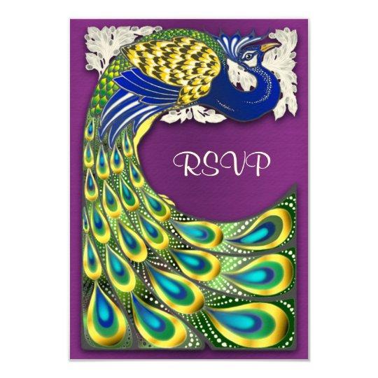 Eggplant Purple & Gold Peacock Wedding RSVP Cards