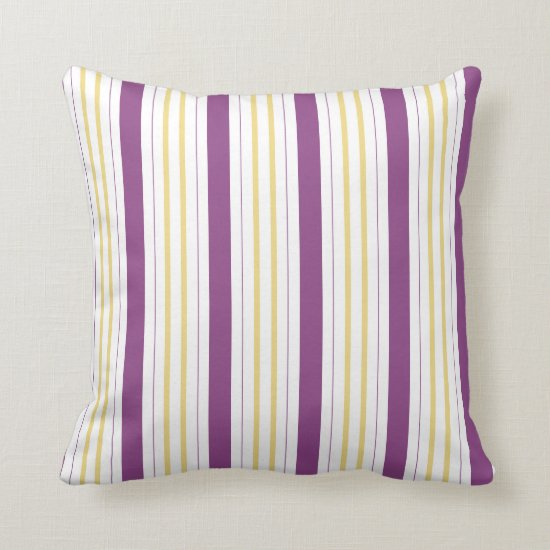 Eggplant Purple Golden Yellow Stripes Pillows