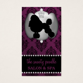Eggplant Purple Jeweled Damask Dog Grooming/Spa Business Card