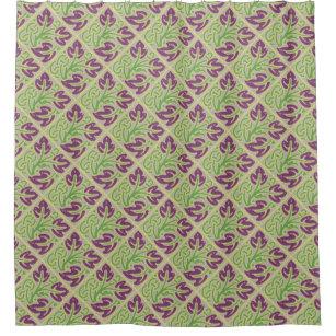 Eggplant Purple Leaf Pattern Shower Curtain