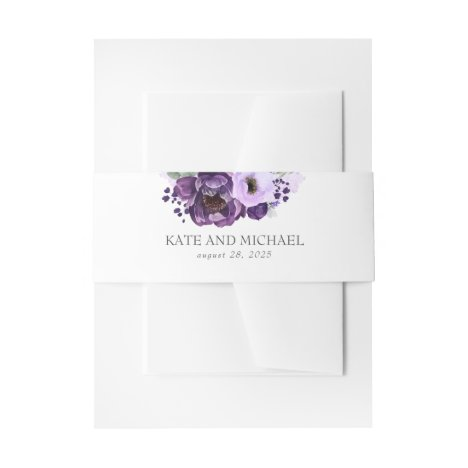 Eggplant Purple Modern Wedding Invitation Belly Band