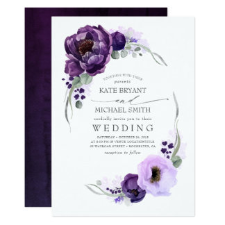 Eggplant Purple Peony and Greenery Silver Wedding Invitation