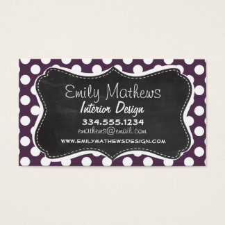 Eggplant Purple Polka Dots; Chalkboard Business Card