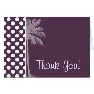 Eggplant Purple Polka Dots; Summer Palm Greeting Card