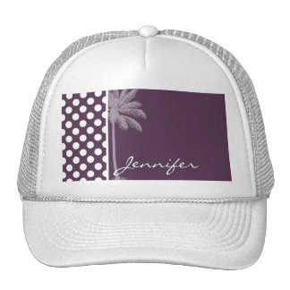 Eggplant Purple Polka Dots; Summer Palm Mesh Hats
