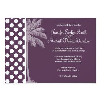 Eggplant Purple Polka Dots; Summer Palm Personalized Invitation