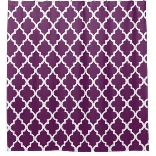 Eggplant Purple Quatrefoil Pattern Shower Curtain
