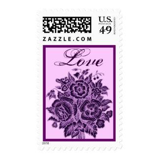 Eggplant Purple Rose Love Bouquet Stamp