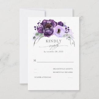 Eggplant Purple Silver Glitter Leaves Wedding RSVP Card