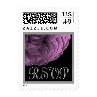 Eggplant Purple & Silver RSVP Rose  Wedding Stamp