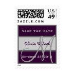 Eggplant Purple & Silver Save the Date Monogram Postage