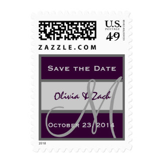 Eggplant Purple & Silver Save the Date Monogram Postage Stamps