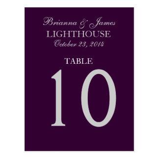 Eggplant Purple Silver Wedding Table Number 10 Postcard