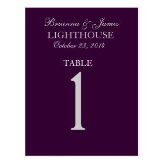 Eggplant Purple Silver Wedding Table Number 1 Card Postcard