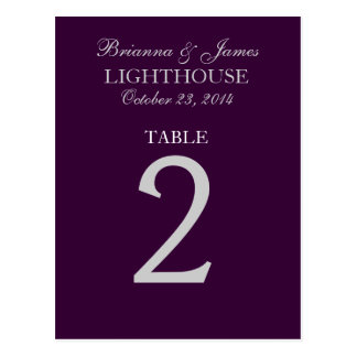 Eggplant Purple Silver Wedding Table Number 2 Card Post Cards