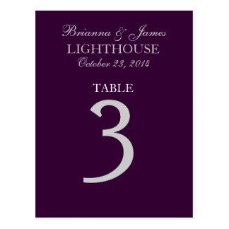 Eggplant Purple Silver Wedding Table Number 3 Card Postcard