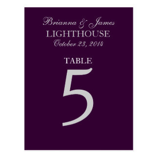Eggplant Purple Silver Wedding Table Number 5 Card