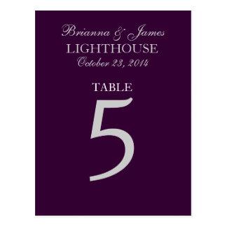 Eggplant Purple Silver Wedding Table Number 5 Card Postcard
