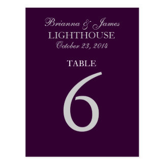 Eggplant Purple Silver Wedding Table Number 6 Card Postcard