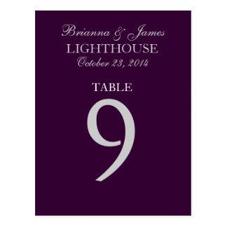 Eggplant Purple Silver Wedding Table Number 9 Card Postcard