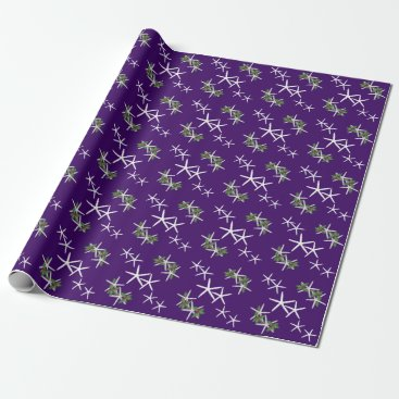 Christmas Themed Eggplant Purple Starfish Christmas Wrapping Paper