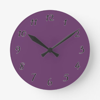 Eggplant purple template to personalize Customize Round Clock