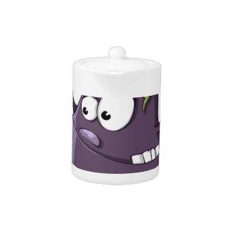 Eggplant Purple Vegetable Eyed Toothy Cartoon Teapot