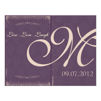 "Eggplant Purple Vintage Wedding Ceremony Program 8.5"" X 11"" Flyer"